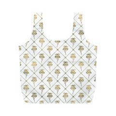 Flower Leaf Gold Full Print Recycle Bags (m)