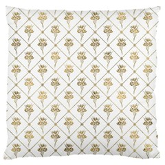 Flower Leaf Gold Large Flano Cushion Case (two Sides)