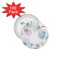 Flower Rainbow Circle Polka Leaf Sexy 1 75  Buttons (100 Pack)