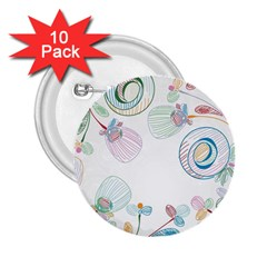 Flower Rainbow Circle Polka Leaf Sexy 2 25  Buttons (10 Pack)