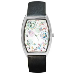 Flower Rainbow Circle Polka Leaf Sexy Barrel Style Metal Watch