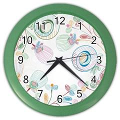 Flower Rainbow Circle Polka Leaf Sexy Color Wall Clocks