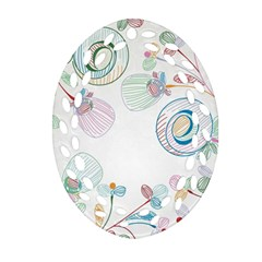 Flower Rainbow Circle Polka Leaf Sexy Oval Filigree Ornament (two Sides)