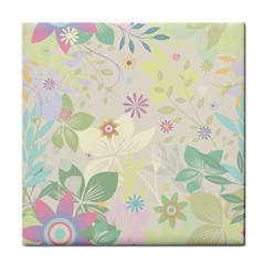 Flower Rainbow Star Floral Sexy Purple Green Yellow White Rose Tile Coasters