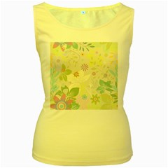 Flower Rainbow Star Floral Sexy Purple Green Yellow White Rose Women s Yellow Tank Top