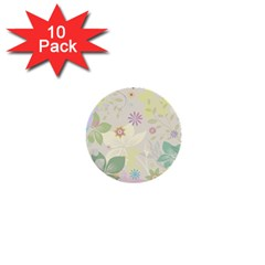 Flower Rainbow Star Floral Sexy Purple Green Yellow White Rose 1  Mini Buttons (10 Pack)