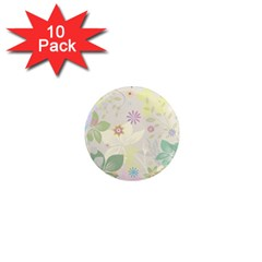 Flower Rainbow Star Floral Sexy Purple Green Yellow White Rose 1  Mini Magnet (10 Pack)