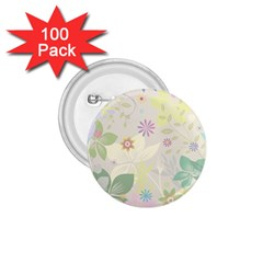 Flower Rainbow Star Floral Sexy Purple Green Yellow White Rose 1 75  Buttons (100 Pack)