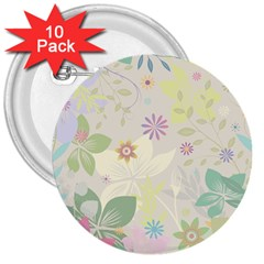 Flower Rainbow Star Floral Sexy Purple Green Yellow White Rose 3  Buttons (10 Pack)