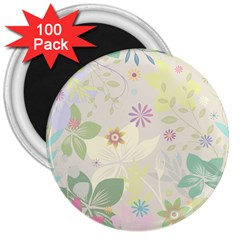 Flower Rainbow Star Floral Sexy Purple Green Yellow White Rose 3  Magnets (100 Pack)