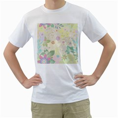 Flower Rainbow Star Floral Sexy Purple Green Yellow White Rose Men s T Shirt (white) (two Sided)