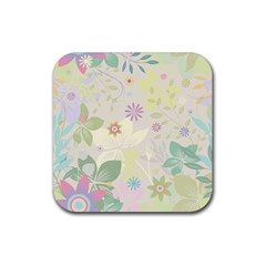 Flower Rainbow Star Floral Sexy Purple Green Yellow White Rose Rubber Square Coaster (4 Pack)