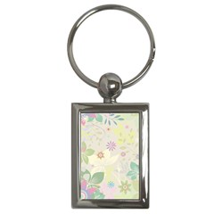 Flower Rainbow Star Floral Sexy Purple Green Yellow White Rose Key Chains (rectangle)