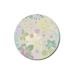 Flower Rainbow Star Floral Sexy Purple Green Yellow White Rose Rubber Coaster (round)