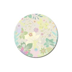 Flower Rainbow Star Floral Sexy Purple Green Yellow White Rose Magnet 3  (round)