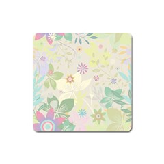 Flower Rainbow Star Floral Sexy Purple Green Yellow White Rose Square Magnet