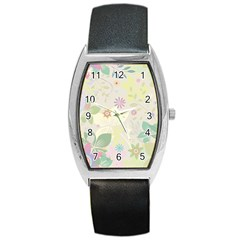Flower Rainbow Star Floral Sexy Purple Green Yellow White Rose Barrel Style Metal Watch