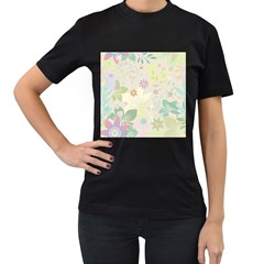 Flower Rainbow Star Floral Sexy Purple Green Yellow White Rose Women s T Shirt (black) (two Sided)