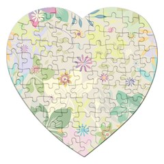 Flower Rainbow Star Floral Sexy Purple Green Yellow White Rose Jigsaw Puzzle (heart)