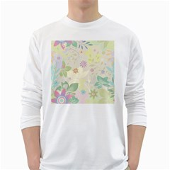 Flower Rainbow Star Floral Sexy Purple Green Yellow White Rose White Long Sleeve T Shirts