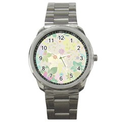 Flower Rainbow Star Floral Sexy Purple Green Yellow White Rose Sport Metal Watch