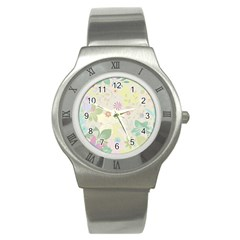 Flower Rainbow Star Floral Sexy Purple Green Yellow White Rose Stainless Steel Watch