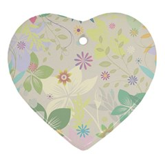 Flower Rainbow Star Floral Sexy Purple Green Yellow White Rose Heart Ornament (two Sides)