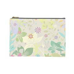 Flower Rainbow Star Floral Sexy Purple Green Yellow White Rose Cosmetic Bag (large)