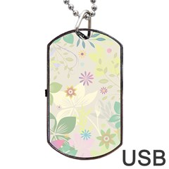 Flower Rainbow Star Floral Sexy Purple Green Yellow White Rose Dog Tag Usb Flash (one Side)