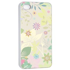 Flower Rainbow Star Floral Sexy Purple Green Yellow White Rose Apple Iphone 4/4s Seamless Case (white)