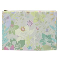 Flower Rainbow Star Floral Sexy Purple Green Yellow White Rose Cosmetic Bag (xxl)