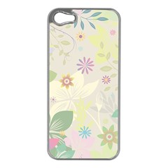 Flower Rainbow Star Floral Sexy Purple Green Yellow White Rose Apple Iphone 5 Case (silver)