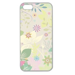 Flower Rainbow Star Floral Sexy Purple Green Yellow White Rose Apple Seamless Iphone 5 Case (clear)