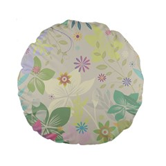 Flower Rainbow Star Floral Sexy Purple Green Yellow White Rose Standard 15  Premium Round Cushions