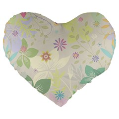 Flower Rainbow Star Floral Sexy Purple Green Yellow White Rose Large 19  Premium Heart Shape Cushions