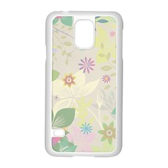 Flower Rainbow Star Floral Sexy Purple Green Yellow White Rose Samsung Galaxy S5 Case (white)