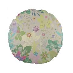 Flower Rainbow Star Floral Sexy Purple Green Yellow White Rose Standard 15  Premium Flano Round Cushions