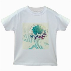 Flower Rose Purple Sunflower Lotus Kids White T Shirts