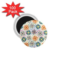 Flower Rainbow Fan Sunflower Circle Sexy 1 75  Magnets (100 Pack)
