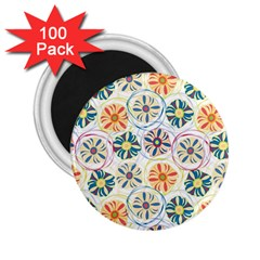 Flower Rainbow Fan Sunflower Circle Sexy 2 25  Magnets (100 Pack)