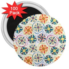 Flower Rainbow Fan Sunflower Circle Sexy 3  Magnets (100 Pack)