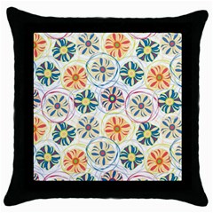 Flower Rainbow Fan Sunflower Circle Sexy Throw Pillow Case (black)