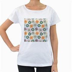 Flower Rainbow Fan Sunflower Circle Sexy Women s Loose Fit T Shirt (white)