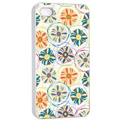 Flower Rainbow Fan Sunflower Circle Sexy Apple Iphone 4/4s Seamless Case (white)