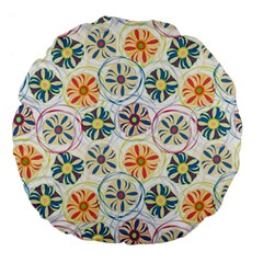 Flower Rainbow Fan Sunflower Circle Sexy Large 18  Premium Flano Round Cushions