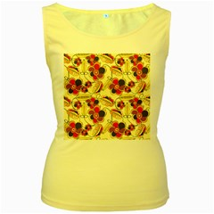 Flower Seed Rainbow Rose Women s Yellow Tank Top