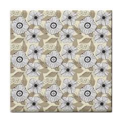 Flower Rose Sunflower Gray Star Tile Coasters