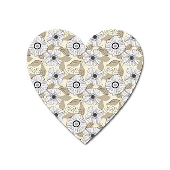 Flower Rose Sunflower Gray Star Heart Magnet