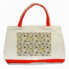 Flower Rose Sunflower Gray Star Classic Tote Bag (red)