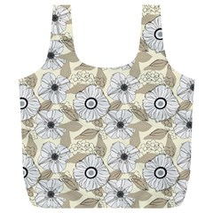 Flower Rose Sunflower Gray Star Full Print Recycle Bags (l)